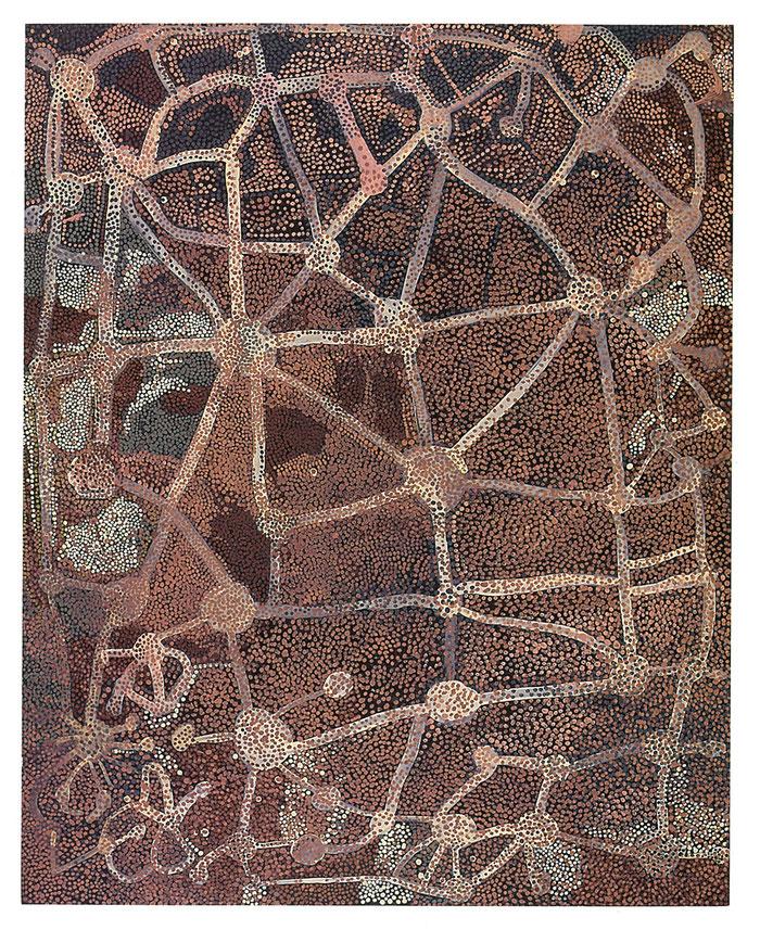 エミリー・ウングワレー「無題(アルハルクラ)」 図録『エミリー・ウングワレー展 アボリジニが生んだ天才画家 Emily Kame Kngwarreye』オーストラリア国立博物館=構成、読売新聞社、2008より