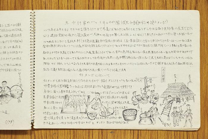 五城目町の名物とされている玉子(だまこ)餅の起源と切タンポについての記述。食べ物と行事の結びつきについての記録は多い。