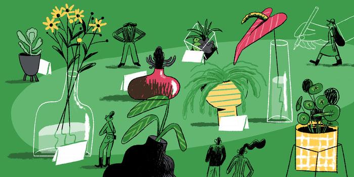 Figure di fiori e piante come esempi di prodotti da vendere online