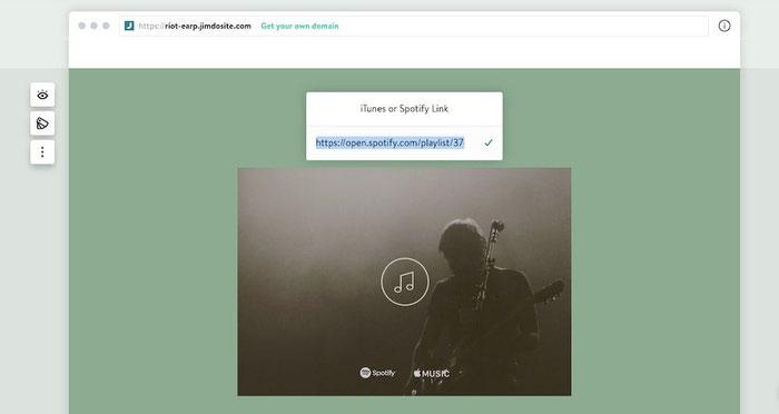 Blocco Musica di un sito Dolphin in cui viene mostrato il riquadro in cui inserire il link di Spotify