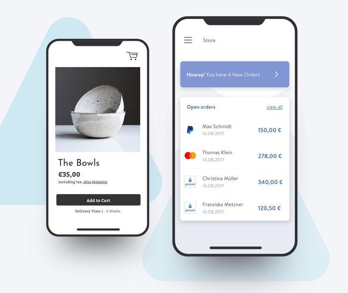 Lo shop creato con Jimdo Dolphin è perfettamente ottimizzato per mobile