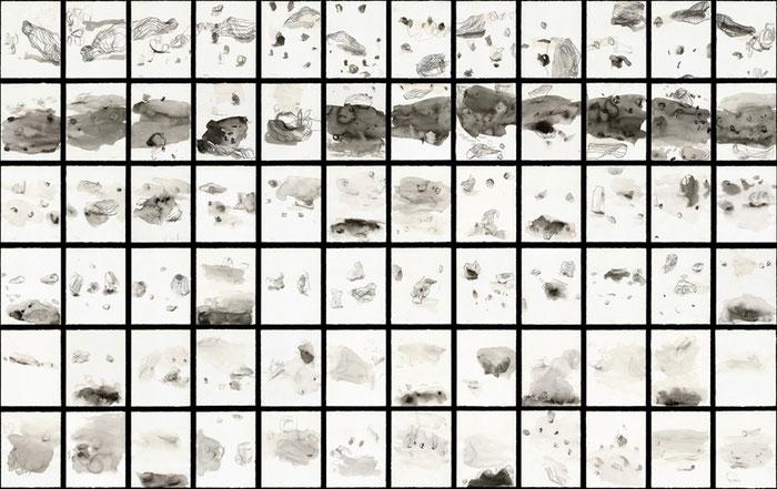 ...besuche mich zeit..., 2001/2, Tableau aus 72 Tuschezeichnungen, Tusche, Collage auf Papier, je 22x17,5cm, gesamt ca.350x210cm