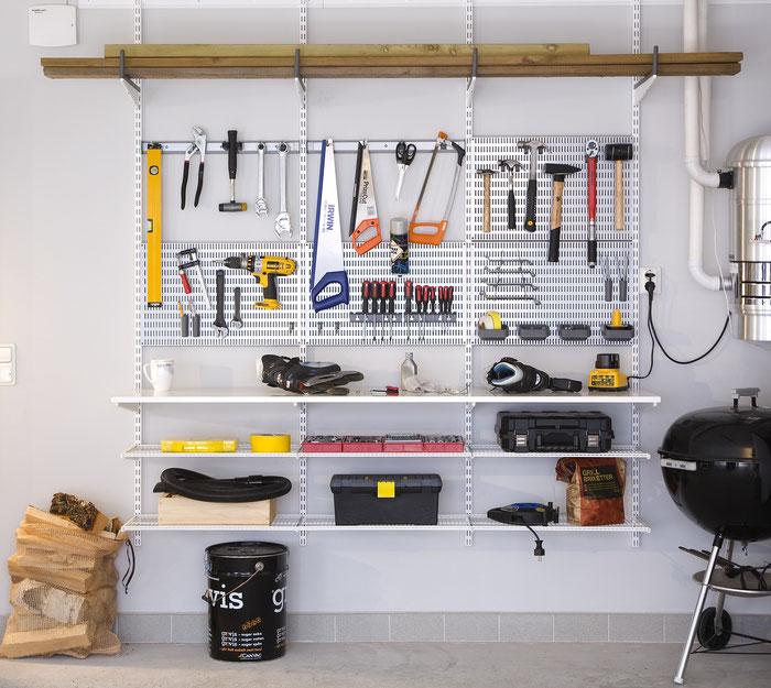 Elfa regalsystem garage garageneinrichtung regalsystem for Regalsystem keller