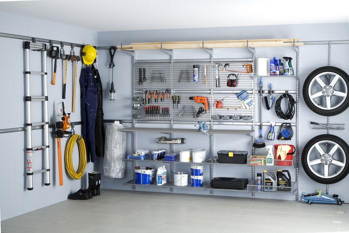 Elfa Aufbewahrungssystem - Wandregal für Garage - Autozubehör - Regalsystem für Garage