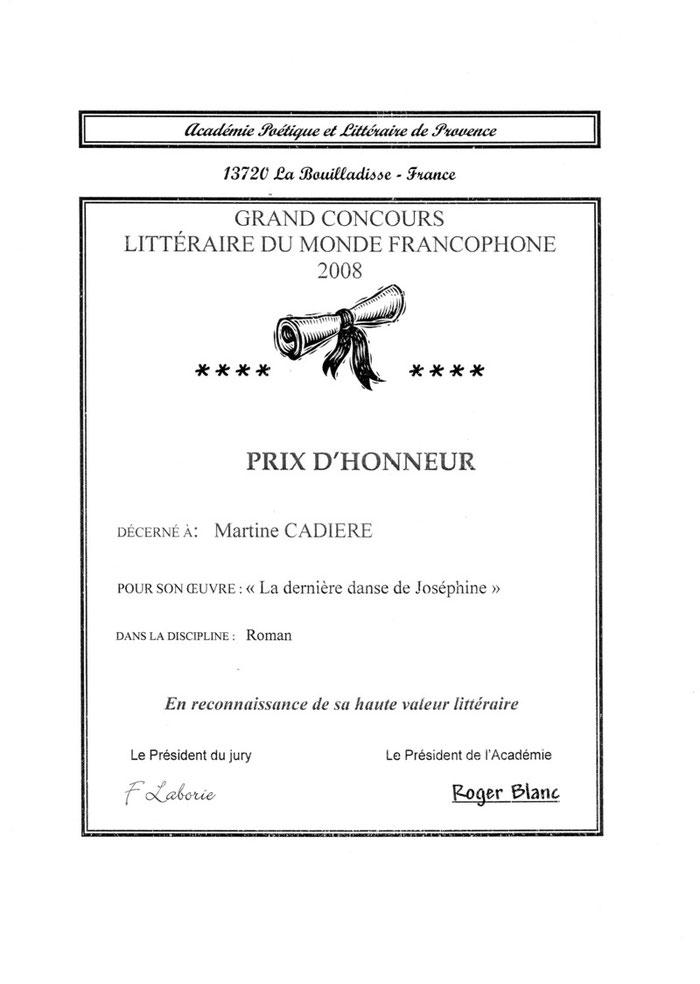 """La dernière danse de Joséphine (roman primé par """"Académie poétique et littéraire de Provence)"""