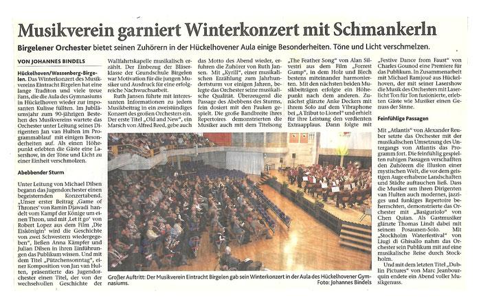 Winterkonzert 2016 Musikverein Eintracht Birgelen