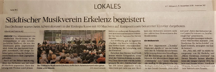 Adventskonzert 2019 Städtischer Musikverein Erkelenz e.V. - Artikel der Aachener Zeitung