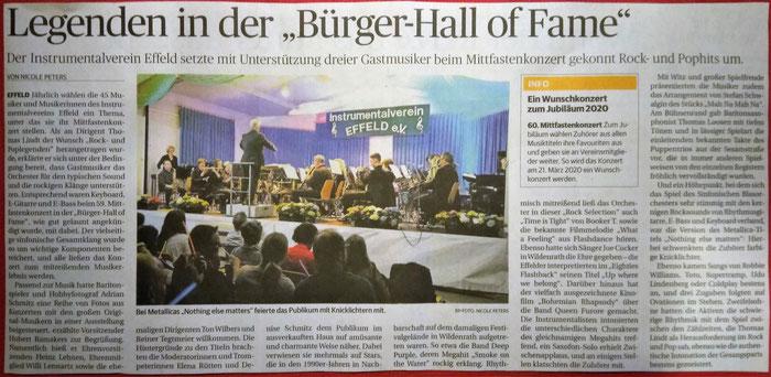 Kritik zum 59. Mitfastenkonzert des Instrumentalvereins Effeld mit dem Thema Rock- und Pop-Legenden