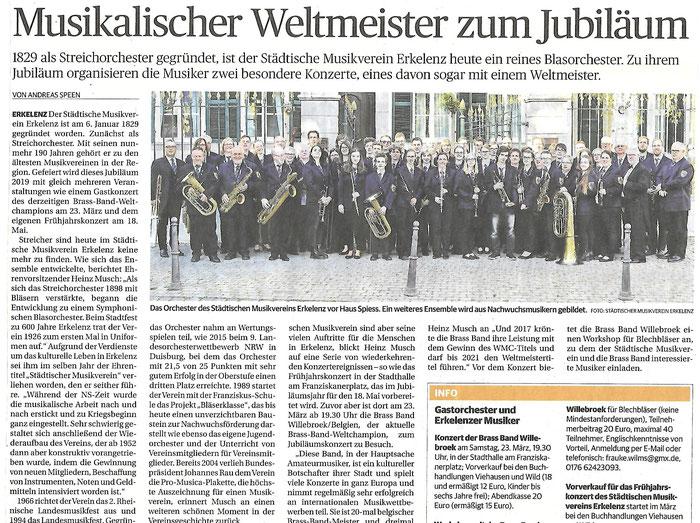 Galakonzert mit Brassband Willebroek zum 190. Jubiläum des Städtischen Musikvereins Erkelenz