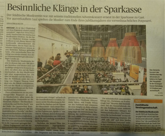 Adventskonzert 2019 Städtischer Musikverein Erkelenz e.V. - Artikel der Rheinischen Post