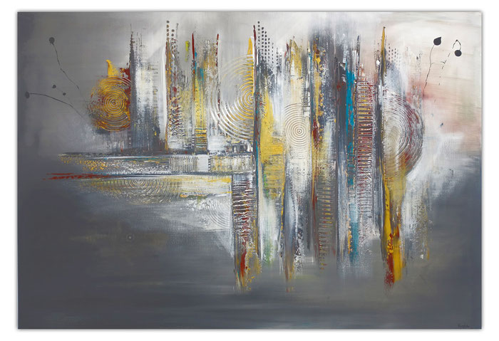 Dripping Gold abstraktes Wandbild Leinwandbild beige grau handgemalt Acryl Gemälde