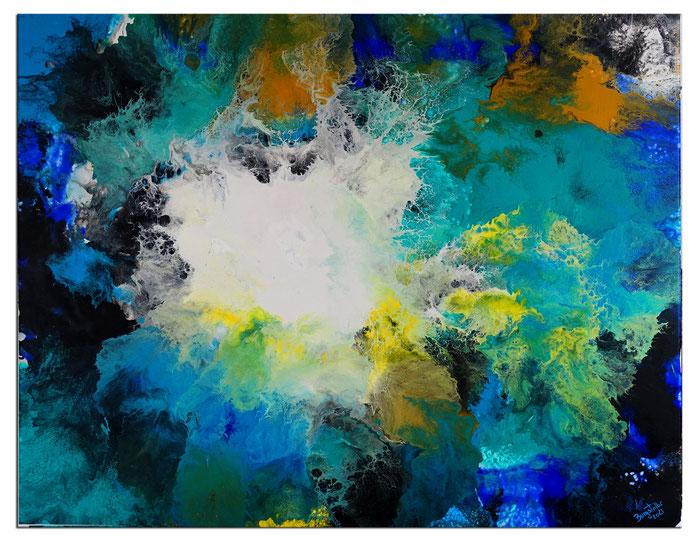 Flut Fluid Art Acrybild blau abstrakte Malerei Leinwandbild Wandbild Gemälde