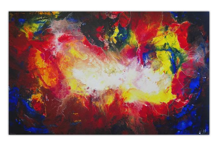 Rote Nova XXL abstrakte Malerei Wandbild Leinwandbild rot blau bunt 160x100