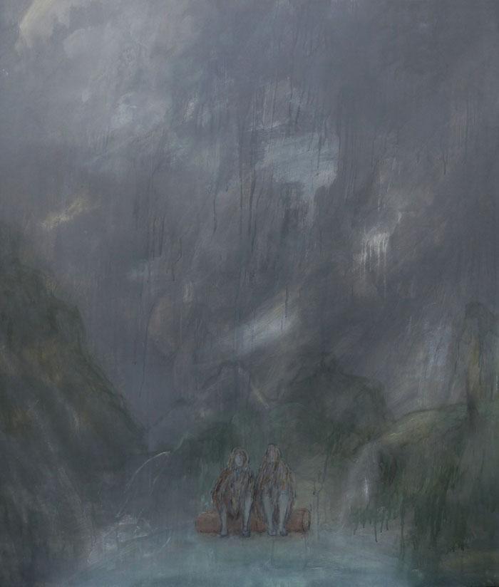 Rindenkleid Memo, 2012 Acryl, Tusche und Bleistift auf MDF, 115x100 cm