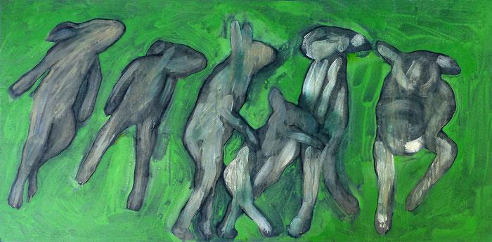 o.T., 2013 Acryl, Tusche und Bleistift auf Sperrholz, 90x160 cm