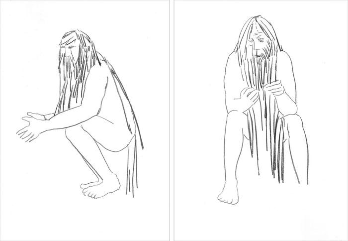 6 Männer (Serie), 2013 Bleistift auf Papier, 42x29,7 cm
