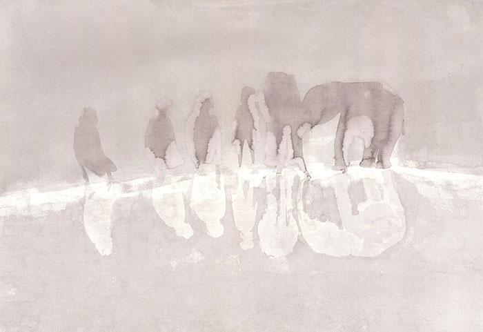 Elefanten/Kinder, 2015 Tusche auf Papier, 46x67 cm