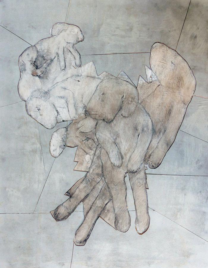 o.T., 2013 Acryl, Tusche und Bleistift auf Sperrholz, 90x70 cm