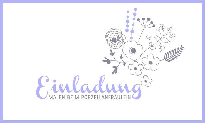 Einladungskarte für das Malen beim Porzellanfräulein