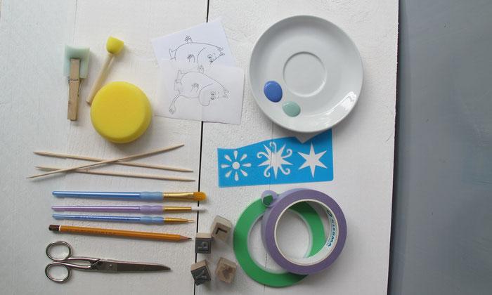 Material für die Techniken zum Bemalen von Keramik