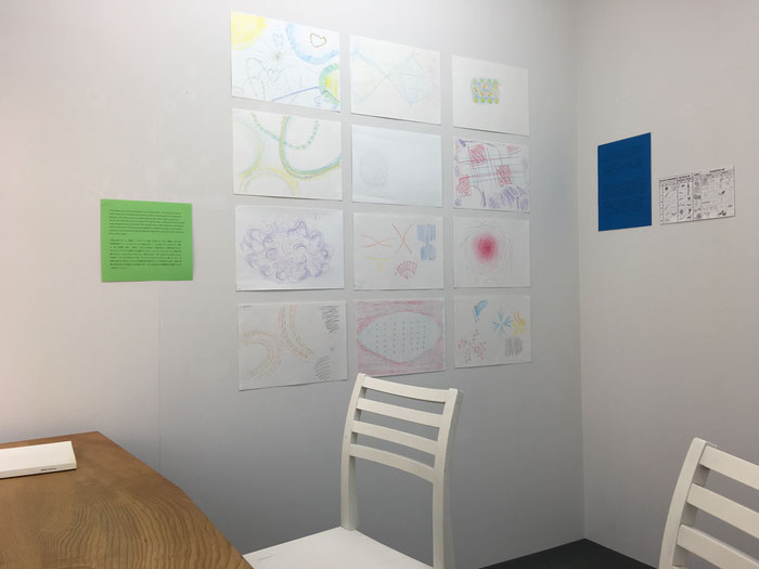 Small display of participants drawings in the CW McDonald Gallery, 2017.