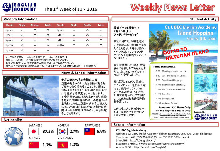 C2 English の「Weekly News Letter The 1st week of JUN 2016」より