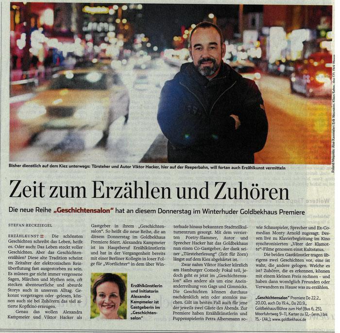 Ankündigung der Premiere im Hamburger Abendblatt am 21.02.18