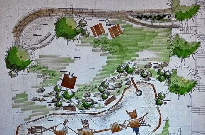 Mehrgenerationen-Spielplatz Königheim Planung oberer Bereich an der Kirchentreppe MGSK