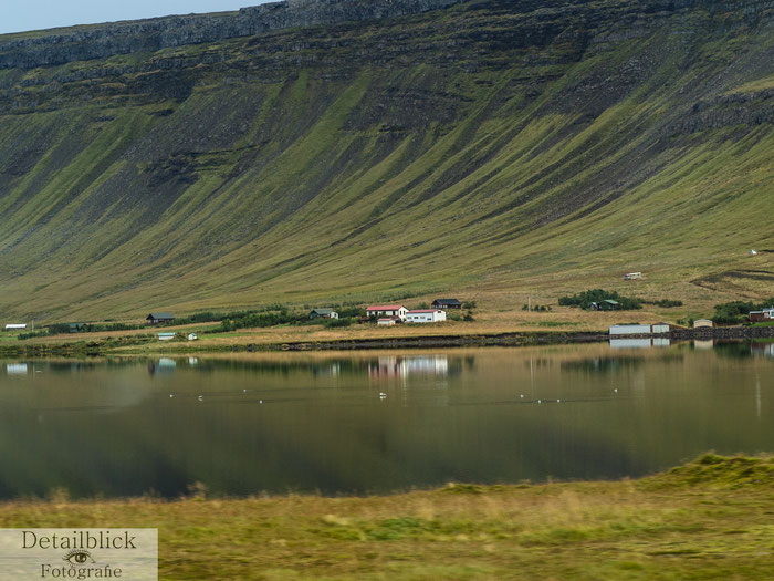 Landschaft Snaefellsness mit Farmen am See