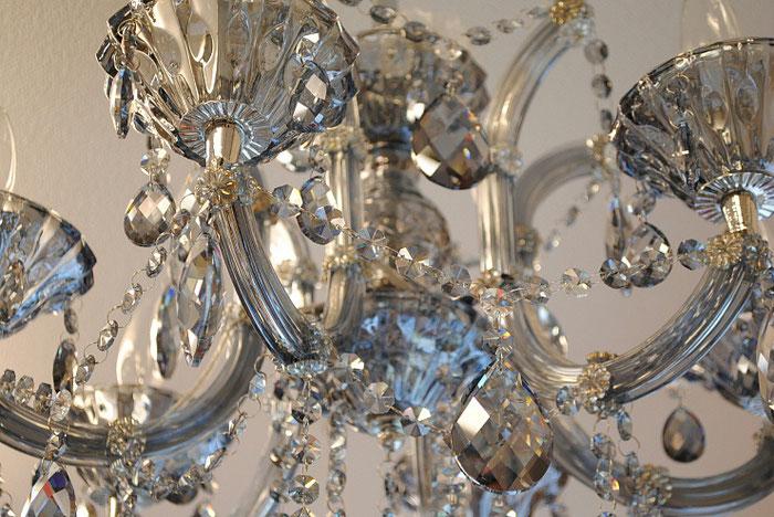 シャンデリア ブルークリスタル グレークリスタル クリスタル 6灯式 ガクト ゴージャス