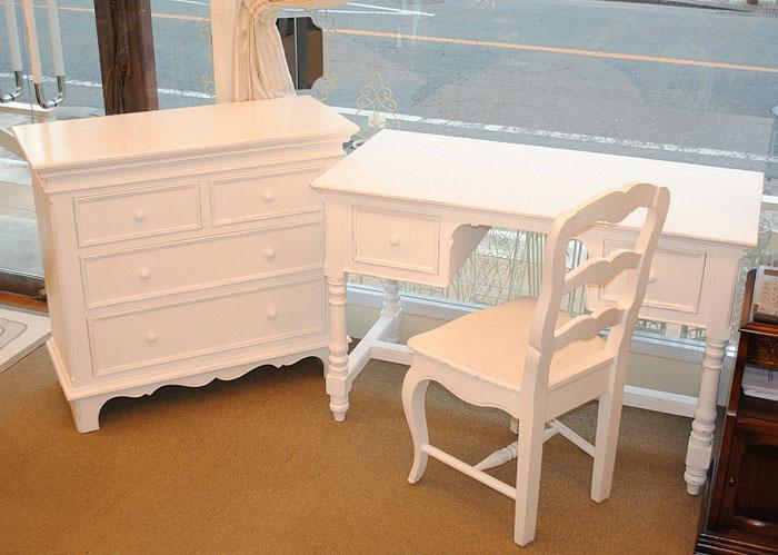フランス家具 白家具 ドレッサーチェスト デスク 学習机 カントリーコナー CountryConer