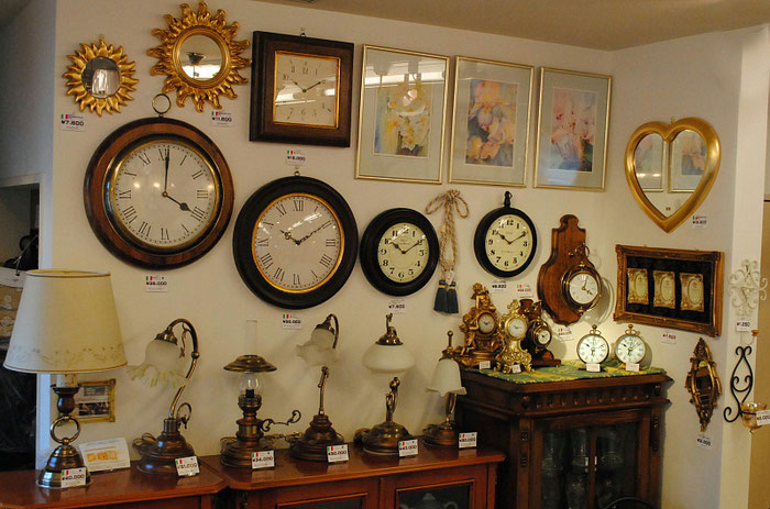 時計 額絵 テーブルランプ ミラー