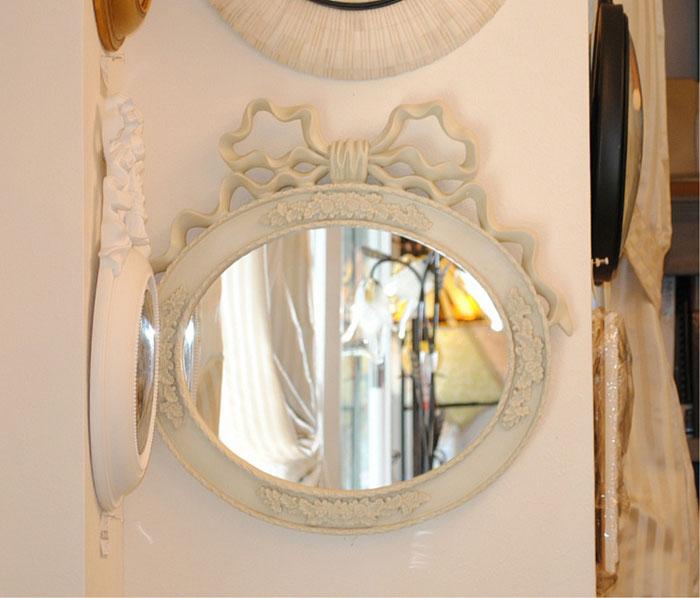 リボンミラー 白いリボンミラー 壁掛け鏡 ウォールミラー クラシック