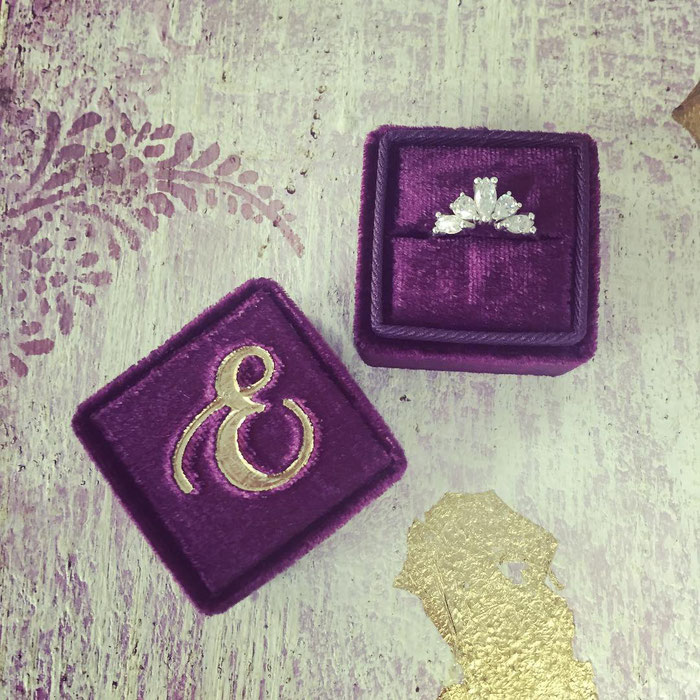Bespoke handmade velvet monogrammed artisan ring box by Bark and Berry for Emma Hedley Jewellery