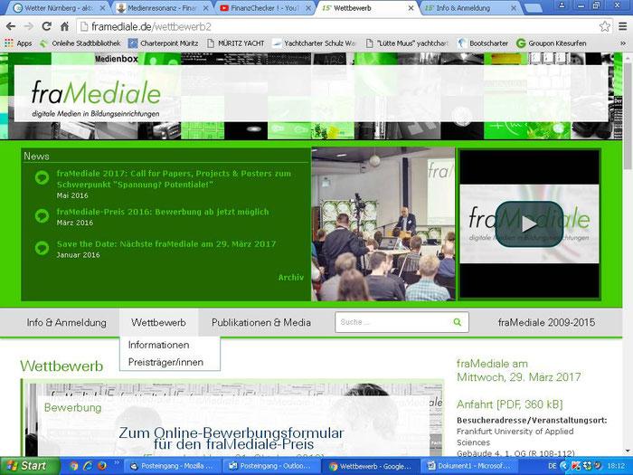 """Mit Sicherheit die letzte Bewerbung  bei """"framediale"""", wieder ergebnislos, selbst anspruchsvolle Schülerprojekte genügen den hohen medialen Ansprüchen des Frankfurter Technologiezentrum für Medien nicht, Schulprojekte sind hier wohl chancenlos"""