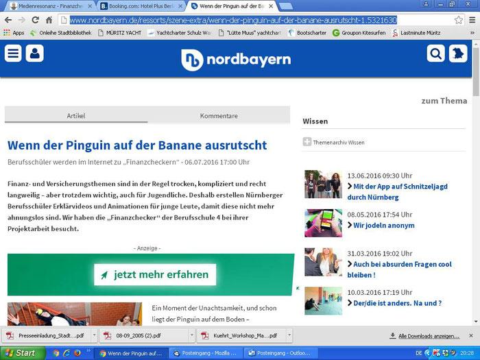 """Die NN hielt den Artikel offenbar sogar für wert, ihn zusätzlich im Netz zu veröffentlichen (Infoplattform Nordbayern.de, Screenshot vom 19.07.2016). Auch hier muss die Domain allerdings richtigerweise """"finanzchecker.de"""" lauten."""