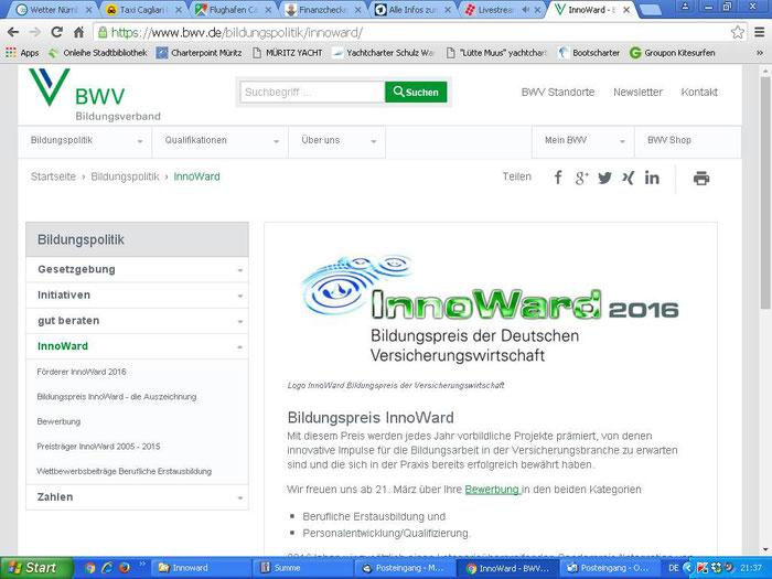 """""""Innoward"""" - Bildungspreis der Deutschen Versicherungswirtschaft"""