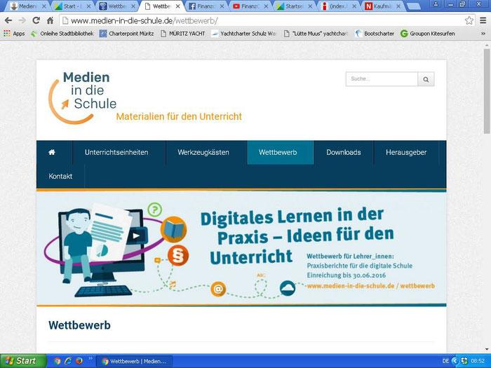 """Wettbewerb """"Digitales Lernen in der Praxis - Ideen für den Unterricht"""" von """"Medien in die Schule"""" // Leider kein Preis, aber wir sind auf der Website als """"Vorzeigeprojekt"""" beschrieben!!! Auch nicht schlecht."""