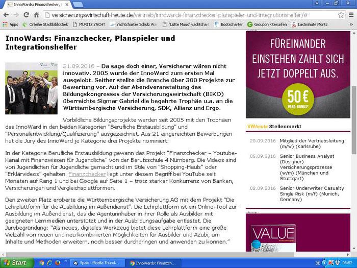 Value, Das Beratermagazin, 21.08.2016 (Screenshot vom 21.09.2016)