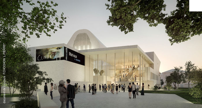 Beauvais - nouveau théâtre du Beauvaisis - document de concours F.Chochon L.Pierre      // in-folio paysagistes