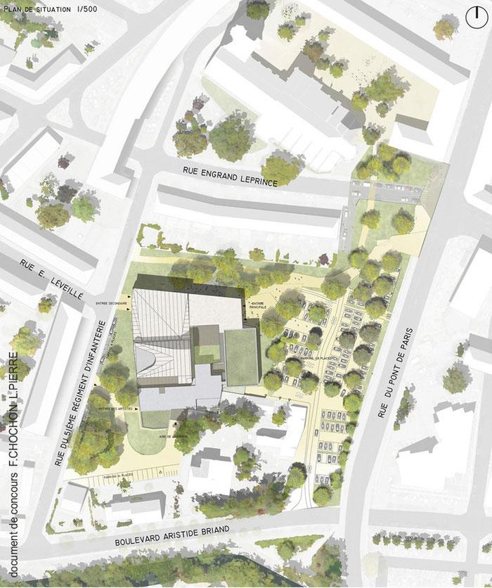 Beauvais - nouveau théâtre du Beauvaisis   F.Chochon L.Pierre  plan de masse concours  / in-folio paysagistes