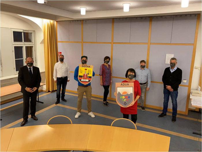 Foto: v.l. Oberbürgermeister Knut Kreuch, Sascha John, Peter, Leisner, Edda Preuß,  Kerstin Götze-Eismann, Marco Brand, Otto Eismann (Foto: Phillip Kästner)