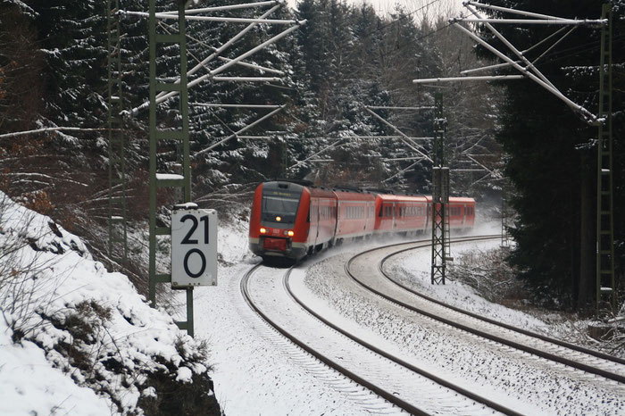 """612 167 und 612 055 als IRE auf der Steigung zum """"Seerenteichplateau"""""""