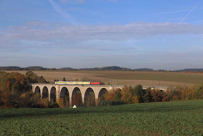 182 506 mit Messzug auf dem Frankensteiner Viadukt