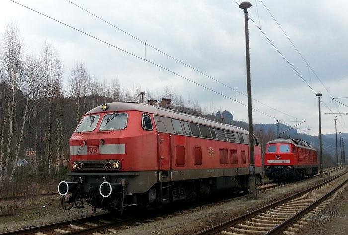 218 831 und 232 587 in Bad Schandau Ost