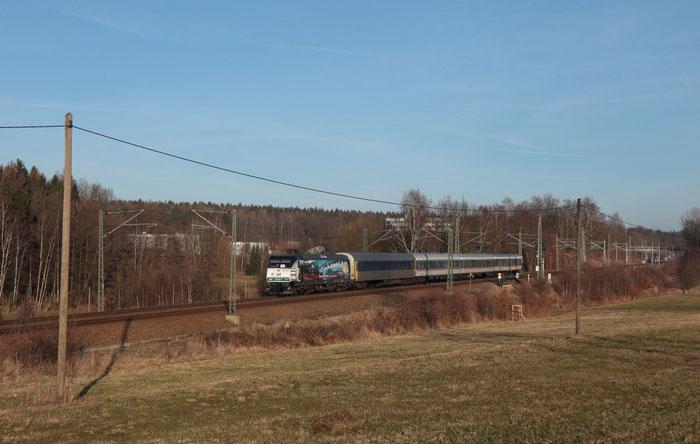 145 023 mit NX Ersatzwagenpark bei Colmnitz