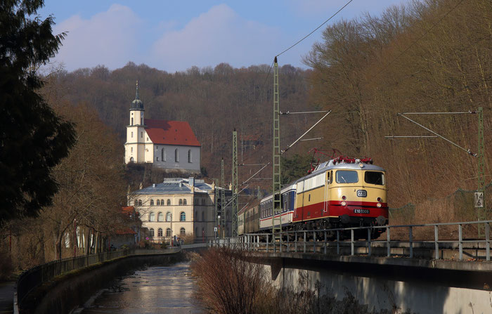 E10 1309 mit DLr 13487 von Bad Schandau nach Glaauchau in Tharandt