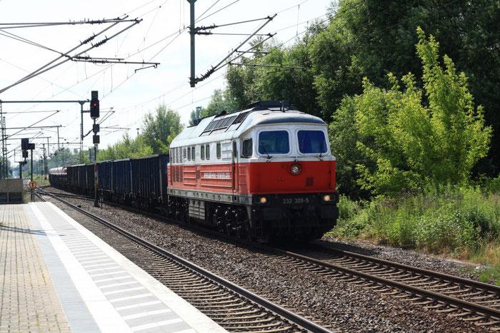 232 309 mit einem Güterzug aus Brandenburg Alstadt in Brandenburg Hbf