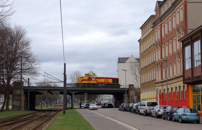 MEG 215 als Lz von Buna nach Freiberg in Chemnitz