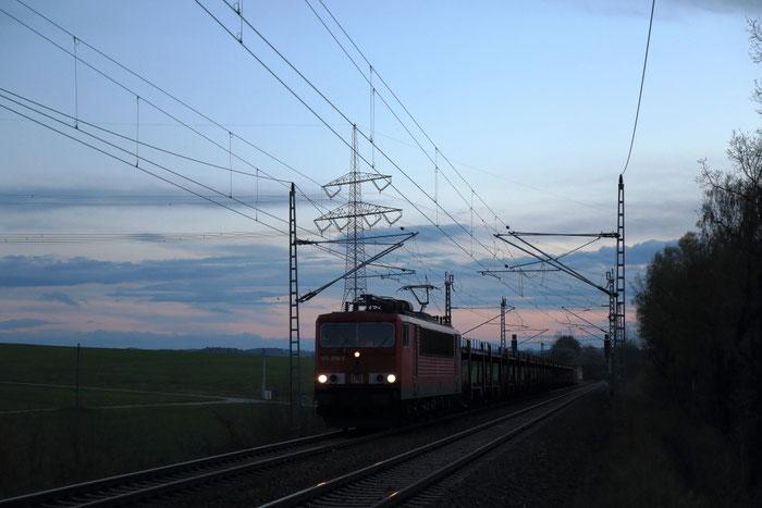 155 056 mit Autoleerzug bei Colmnitz